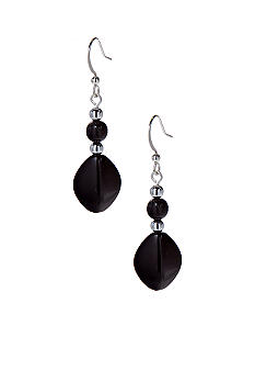 Kim Rogers Black Round Bead/Oval Drop French Wire Earrings