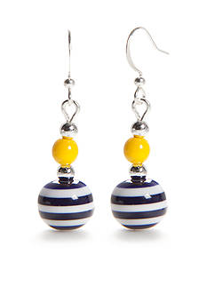 Kim Rogers Silver-Tone Stripe Bead Double Drop Earrings