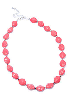 Kim Rogers 18-in. Coral Flat Oval Bead Necklace