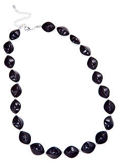Kim Rogers 18-in. Black Oval Bead With Silver Spacer Necklace