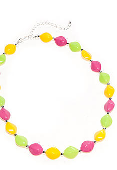 Kim Rogers 18-in. Yellow, Lime Green and Fuchsia Flat Oval Necklace
