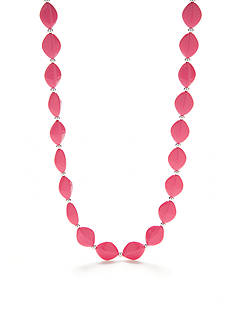 Kim Rogers Silver-Tone Pink Lucite Almond Bead Strand Necklace