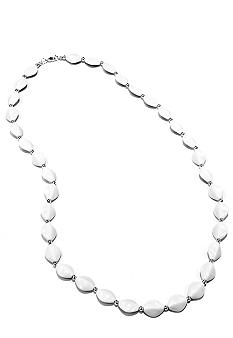 Kim Rogers White Flat Oval Necklace