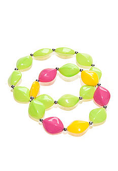Kim Rogers Yellow, Lime Green and Fuchsia Flat Oval Stretch Bracelets Set of 2