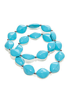 Kim Rogers Turquoise Flat Oval Stretch Bracelets Set of 2