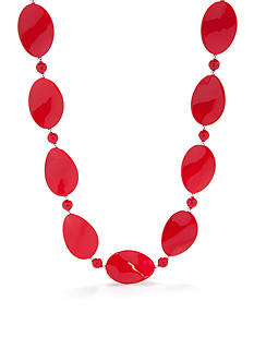 Kim Rogers Red Thin Wavy Oval Shape Silver-Tone Bead Necklace