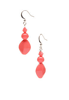 Kim Rogers Coral 3 Bead French Wire Earrings