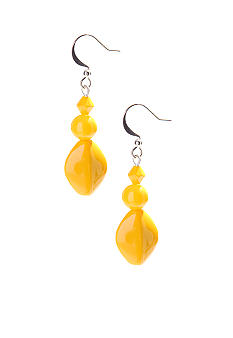Kim Rogers Yellow 3-Bead French Wire Earrings