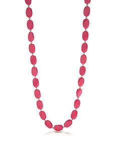Kim Rogers Pink Lucite Flat Bead Strand Necklace