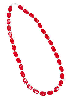 Kim Rogers 30-in. Red Oval Wafer Necklace