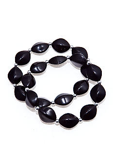 Kim Rogers Black Oval Beads with Silver Spacers Stretch Bracelets - Set of 2