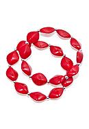 Kim Rogers® Red Oval Bead And Silver Spacers Stretch Bracelet - Set of 2