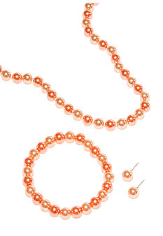 Kim Rogers Coral Pearl Necklace/Bracelet/Earring Set