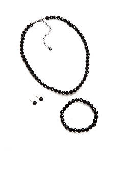 Kim Rogers Hematite-Tone Faceted Jet Bead Necklace, Bracelet, and Earrings Set