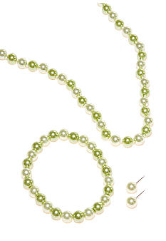 Kim Rogers Green Pearl Necklace/Bracelet/Earring Set
