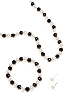 Kim Rogers Black and White Pearl Necklace/Bracelet/Earring Set