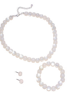 Kim Rogers White Necklace, Bracelet and Earring Set