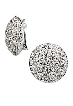 Kim Rogers Large Clear Pave Clip Button Earrings