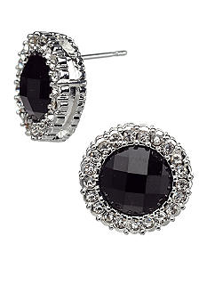 Kim Rogers Round Faceted Border Button Earrings