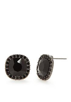 Kim Rogers Hematite-Tone Jet Square Button Earrings