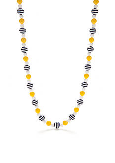 Kim Rogers Silver-Tone Stripe Bead Collar Necklace