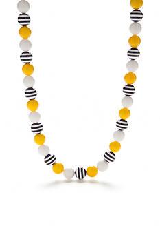 Kim Rogers Silver-Tone Stripe Bead Strand Necklace