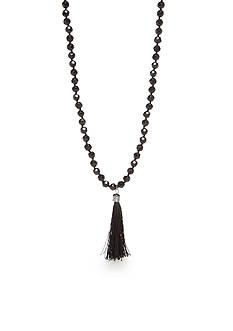 Kim Rogers Hematite-Tone Jet Tassel Pendant Necklace