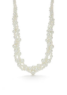 Kim Rogers Silver-Tone White Glass Pearl Collar Necklace