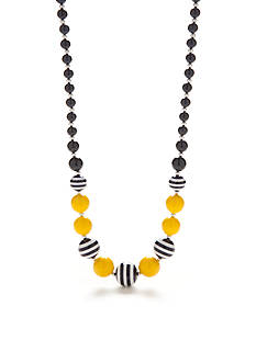 Kim Rogers Silver-Tone Stripe Bead Graduated Necklace