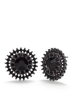 Kim Rogers Hematite-Tone Jet Round Button Earrings
