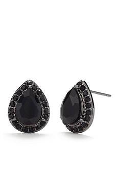 Kim Rogers Hematite-Tone Jet Teardrop Button Earrings