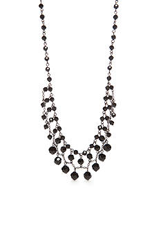 Kim Rogers Hematite-Tone Jet Faceted Bead Necklace