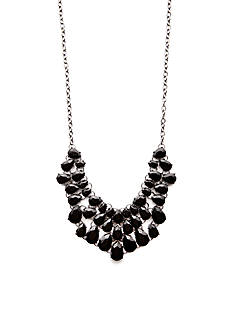 Kim Rogers Hematite-Tone Faceted Jet Teardrop Bib Necklace