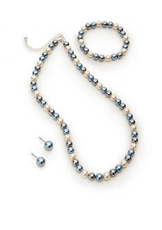 Kim Rogers Blue Glass Pearl Necklace, Bracelet and Earring Set