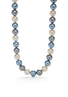 Kim Rogers Silver-Tone Large Blue Glass Pearl Strand Necklace