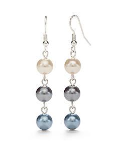 Kim Rogers Silver-Tone Blue Glass Pearl Linear Earrings