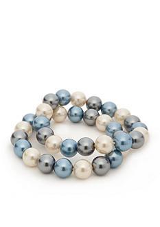Kim Rogers Blue Glass Pearl Stretch Bracelet Set