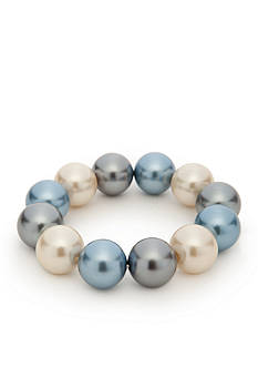 Kim Rogers Blue Glass Pearl Large Stretch Bracelet