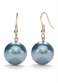 Kim Rogers Silver-Tone Large Blue Pearl Drop Earrings