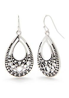 Kim Rogers Silver-Tone Bali Filigree Teardrop Earrings