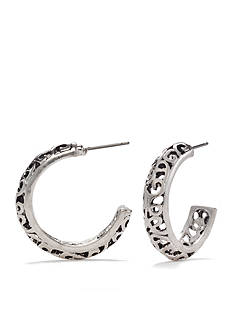 Kim Rogers Silver-Tone Antique Bali Half Hoop Earrings