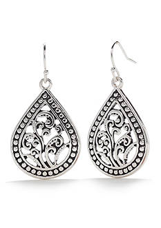 Kim Rogers Silver-Tone Teardrop Bali Earrings
