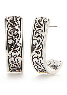 Kim Rogers Silver-Tone Brooke J-Hoop Earrings