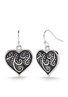 Kim Rogers Silver-Tone Antique Scroll Heart Drop Earrings