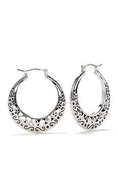 Kim Rogers Silver-Tone Open Scroll Hoop Earrings