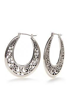 Kim Rogers Silver-Tone Adeline Hoop Earrings
