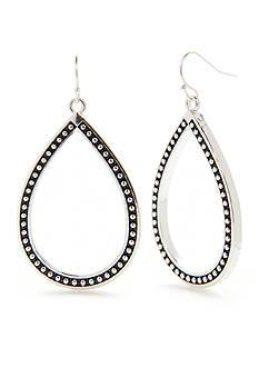 Kim Rogers Silver-Tone Studded Teardrop Earrings