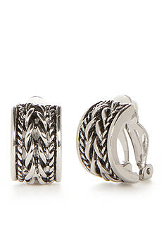 Kim Rogers Silver-Tone Aspen C Hoop Clip Earrings
