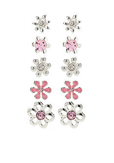 Kim Rogers Silver-Tone Pink Flower 5-Piece Boxed Earring Set