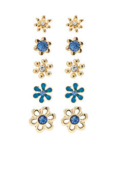 Kim Rogers Gold-Tone Blue Flower 5-Piece Boxed Earring Set